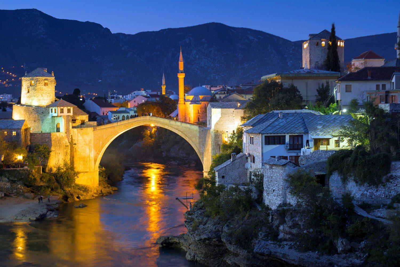 Mostar - Old Bridge at night